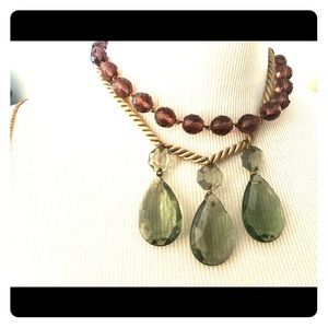 Anthropologie 3 glass teardrops necklace